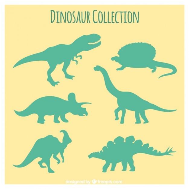 Zielone Sylwetki Dinozaurów Premium Wektorów