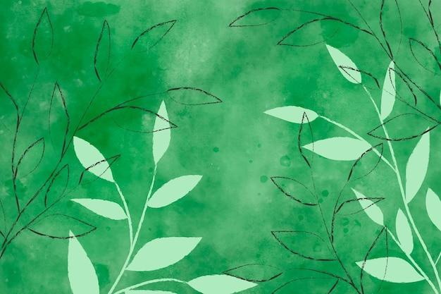 Zielone Tło Akwarela Z Liści Darmowych Wektorów