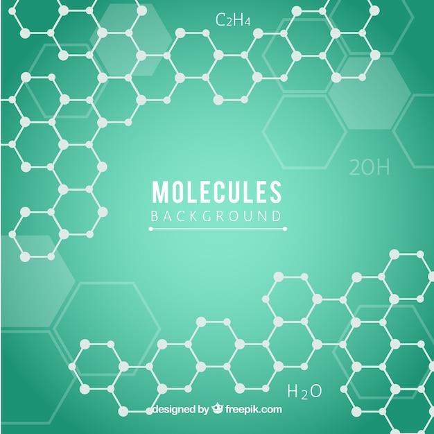 Zielone tło z sześciokątami i molekułami Darmowych Wektorów