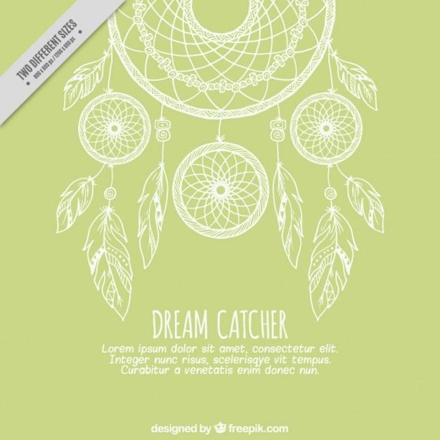 Zielone Tło Z Szkice Dreamcatcher Darmowych Wektorów
