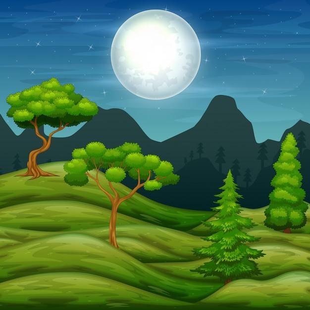 Zielone Wzgórza Krajobraz I Drzewa W Nocy Premium Wektorów