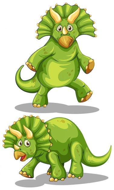 Zielony Dinozaur Z Ostrymi Rogami Darmowych Wektorów