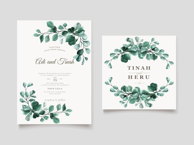 Zielony Eukaliptusowy Szablon Zaproszenia ślubne Darmowych Wektorów
