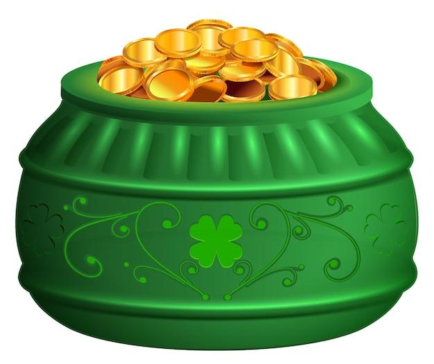 Zielony Garnek Złotych Monet. Dzień świętego Patryka Symbol Skarb Koniczyny Szczęścia. Ilustracja Wektorowa Na Białym Tle Premium Wektorów