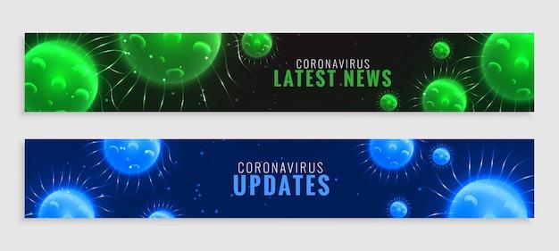 Zielony I Niebieski Koronawirus Wirusa Covid-19 Najnowsze Wiadomości I Aktualizacje Banner Darmowych Wektorów