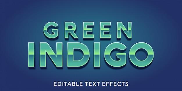 Zielony Indygo Edytowalne Efekty Tekstowe Premium Wektorów
