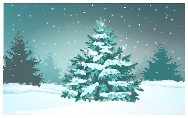 Zielony jedlinowy drzewo w zima lasu ilustraci Darmowych Wektorów