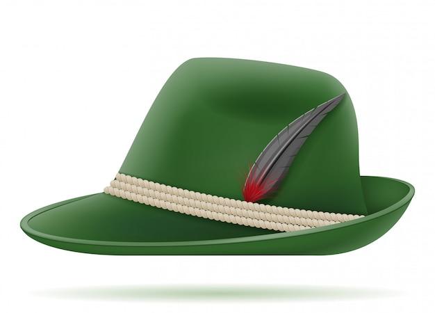 Zielony Niemiecki Tradycyjny Kapelusz Premium Wektorów
