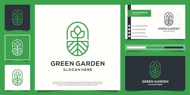 Zielony Ogród E Logo I Zestaw Wizytówek Premium Wektorów