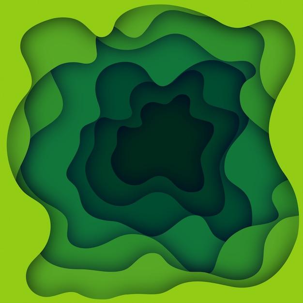 Zielony Papier Wyciąć Transparent Z 3d Szlam Streszczenie Tło I Warstw Fal żółty. Streszczenie Projektu Układu Broszury I Ulotki. Ilustracja Sztuki Papieru Premium Wektorów