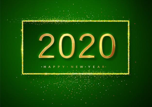 Zielony Szczęśliwego Nowego Roku Brokat Złote Fajerwerki. Złoty Błyszczący Tekst I Cyfry 2020 Z Błyszczącym Blaskiem Na świąteczną Kartkę Z życzeniami. Premium Wektorów