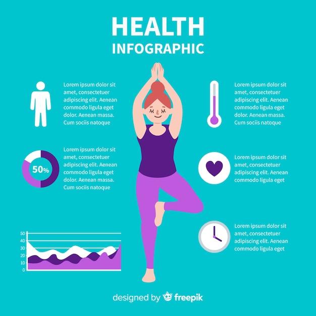 Zielony zdrowia infographic płaski projekt Darmowych Wektorów