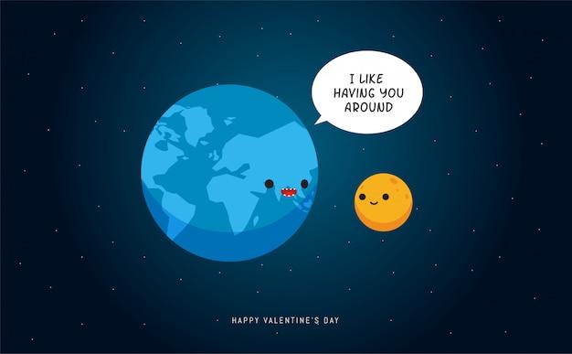 Ziemia I Księżyc Premium Wektorów
