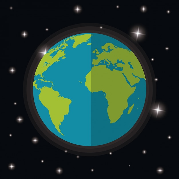 Ziemia Planeta świat Gwiazd Przestrzeń Wektor Premium Pobieranie