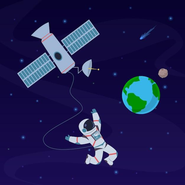Ziemia Z Astronautą. Kosmonauta Unoszący Się W Stratosferze W Pobliżu Planety Ziemi, Statek Kosmiczny. Premium Wektorów