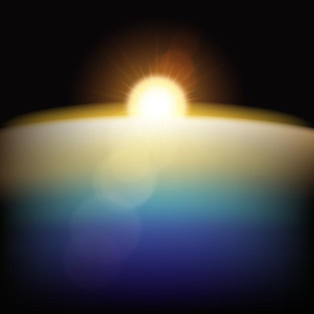 Ziemski wschód słońca lekki efekt na czarnym tle Darmowych Wektorów