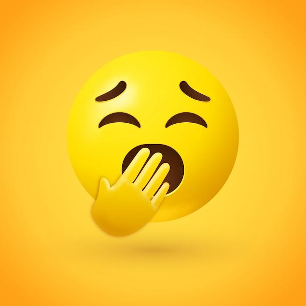Ziewanie twarzy emoji z zamkniętymi oczami i usta pokryte dłonią Premium Wektorów