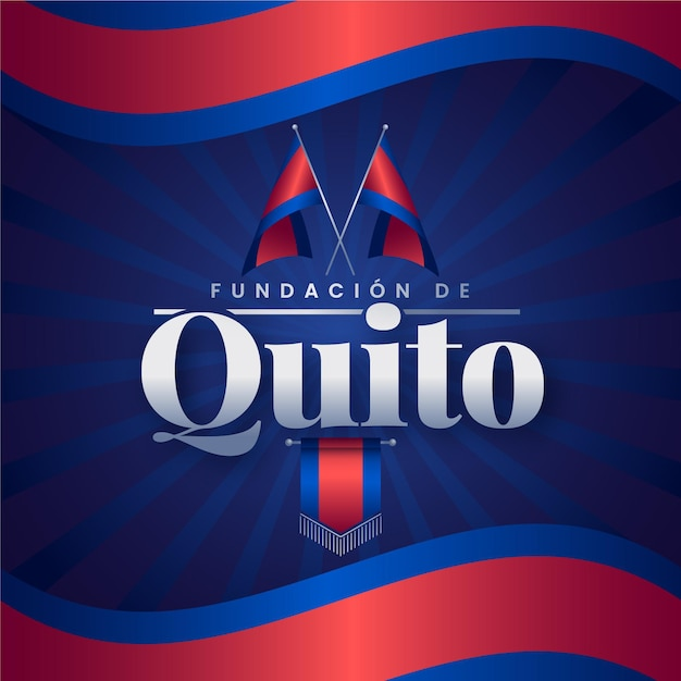 Zilustrowana Fundacja De Quito Z Czerwoną I Niebieską Flagą Darmowych Wektorów