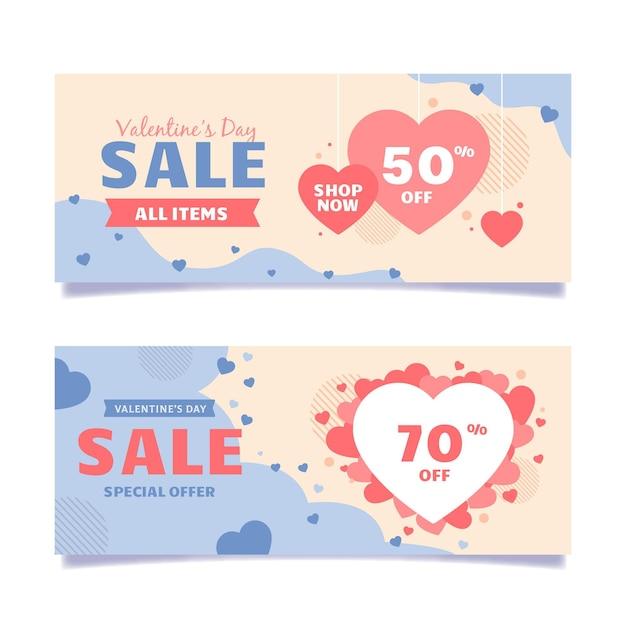 Zilustrowane Walentynkowe Banery Sprzedaży Darmowych Wektorów