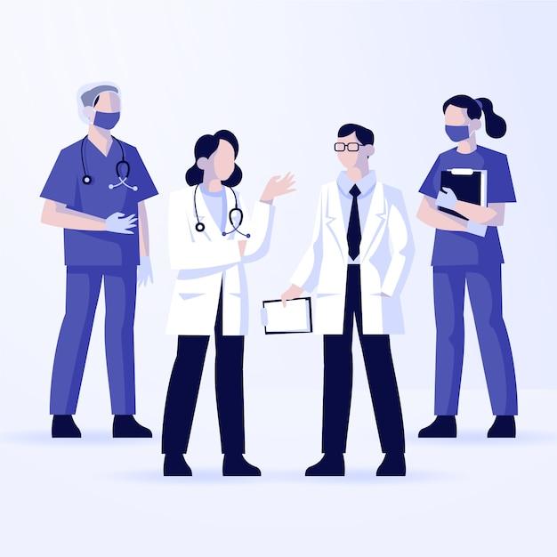 Zilustrowano Grupę Różnych Lekarzy Darmowych Wektorów