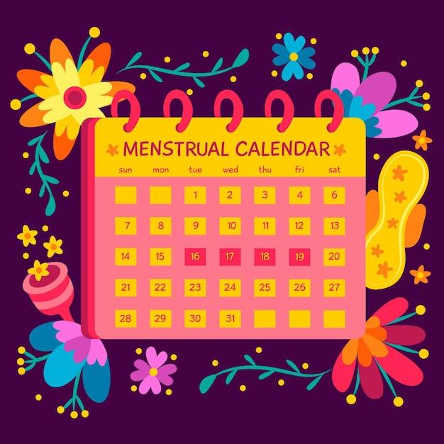 Zilustrowano Koncepcję Kalendarza Menstruacyjnego Darmowych Wektorów