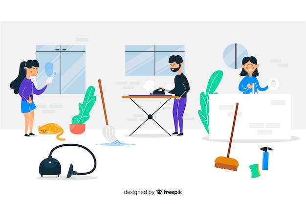 Zilustrowano młodych ludzi wykonujących prace domowe Darmowych Wektorów