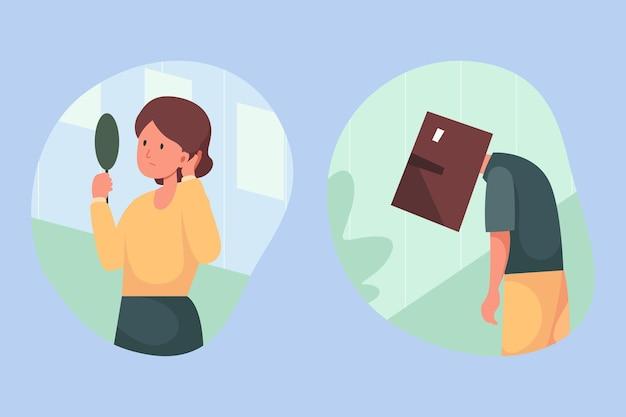 Zilustrowano Osoby O Niskim Poczuciu Własnej Wartości Darmowych Wektorów