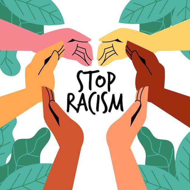 Zilustrowano Osoby Uczestniczące W Ruchu Stop Rasizmu Darmowych Wektorów