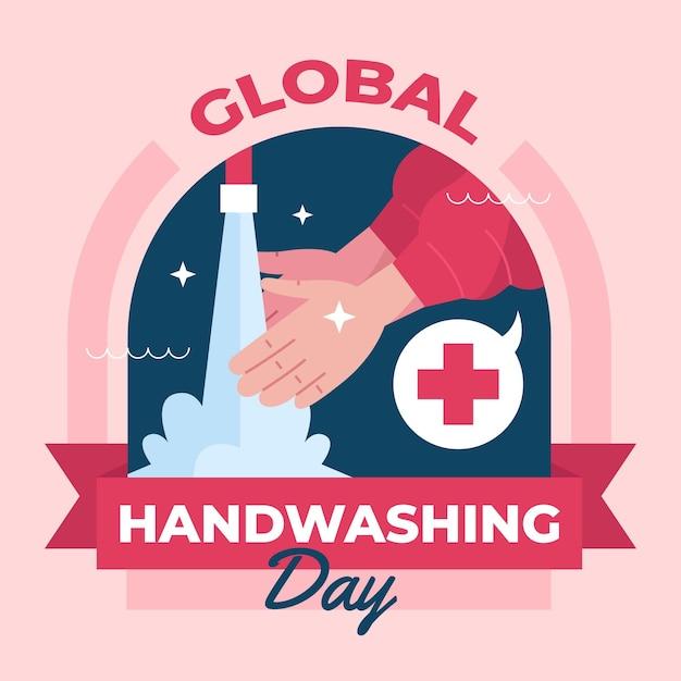 Zilustrowano światowe Wydarzenie Dnia Mycia Rąk Darmowych Wektorów