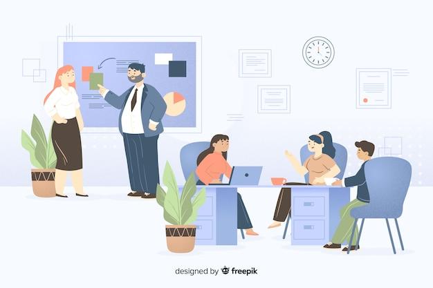 Zilustrowano współpracowników współpracujących Darmowych Wektorów