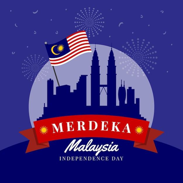Zilustrowany Dzień Niepodległości Malezji Premium Wektorów