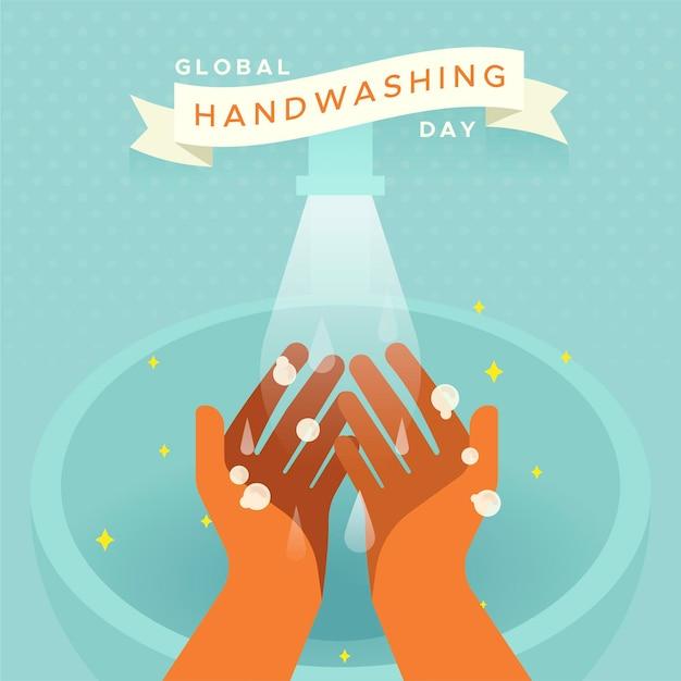 Zilustrowany światowy Dzień Mycia Rąk Darmowych Wektorów