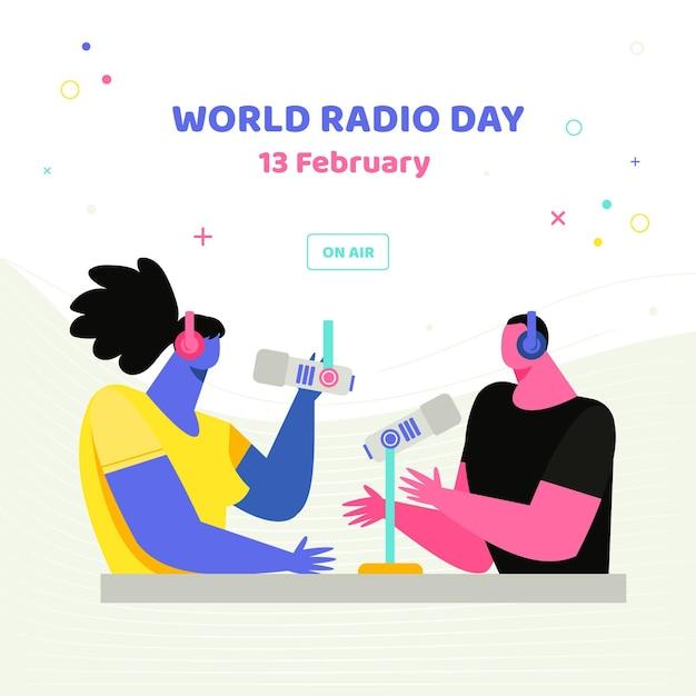 Zilustrowany światowy Dzień Radia Darmowych Wektorów