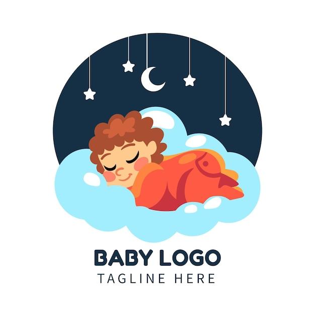 Zilustrowany Szczegółowy Szablon Logo Dziecka Darmowych Wektorów