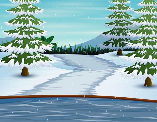 Zim góry i jezioro z sosnami zakrywającymi w śniegu Premium Wektorów