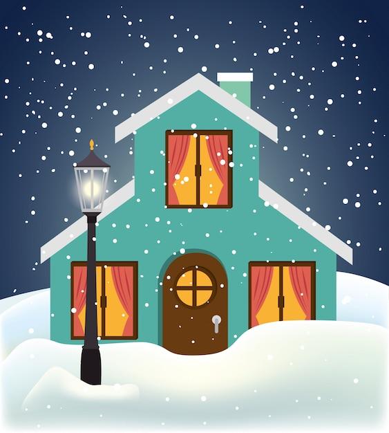 Zima i budynki Darmowych Wektorów