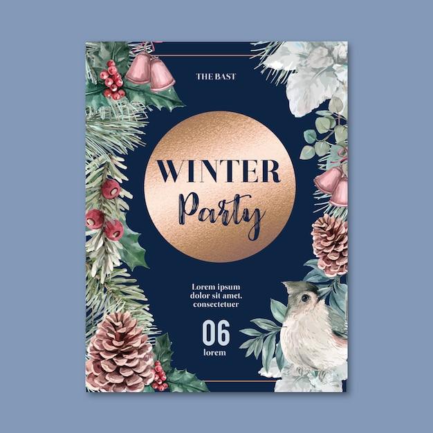 Zima kwiatowy kwitnący plakat, pocztówka elegancki do dekoracji rocznika piękne Darmowych Wektorów