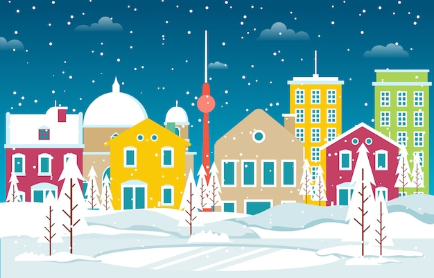 Zima śnieg W Berlin Miasta Pejzażu Miejskiego Linii Horyzontu Punktu Zwrotnego Budynku Ilustraci Premium Wektorów