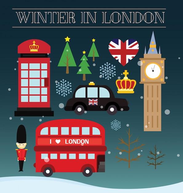 Zima w londynie Premium Wektorów