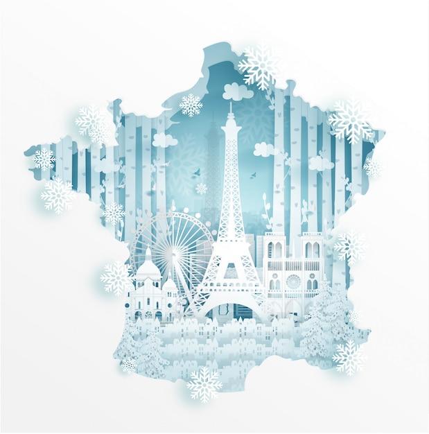 Zima W Paryżu Z Koncepcją Mapy Do Podróży I Turystyki Reklamowej Koncepcji Premium Wektorów