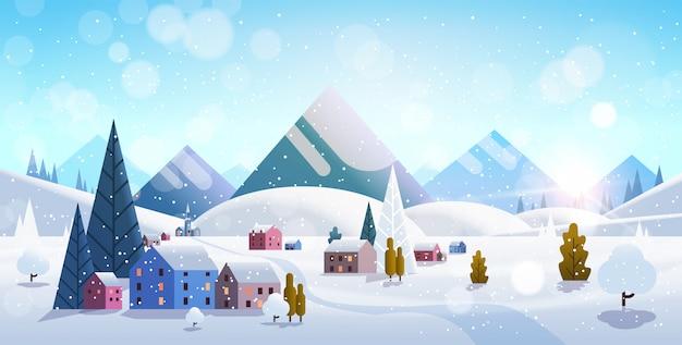 Zima Wieś Domy Góry Wzgórza Krajobraz śnieg Premium Wektorów