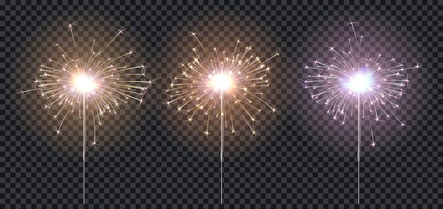 Zimne Ognie Lub Bengalski Ogień, Trzykolorowe Oświetlenie: Niebieski, Czerwony, żółty, Elementy świąteczne Dekoracje. Premium Wektorów