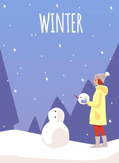 Zimowa Karta Lub Plakat Szablon Z Kobietą Lub Dziewczyną Robi Bałwana Premium Wektorów