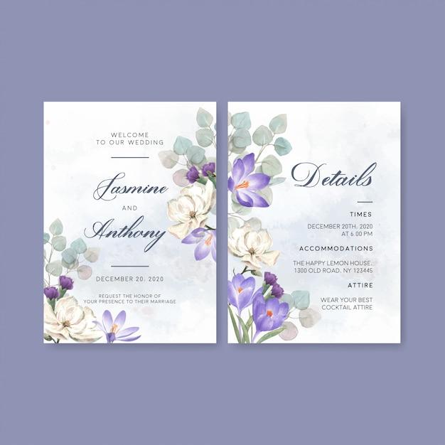 Zimowa karta ślubna z liliami, krokusami Darmowych Wektorów