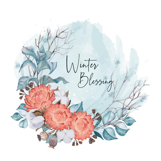 Zimowa Karta Z Czerwonymi Kwiatami Premium Wektorów