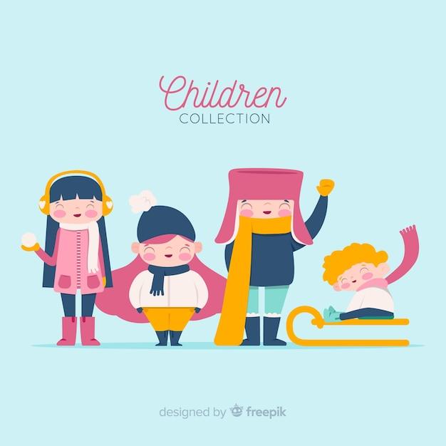 Zimowa kolekcja dziecięca Darmowych Wektorów