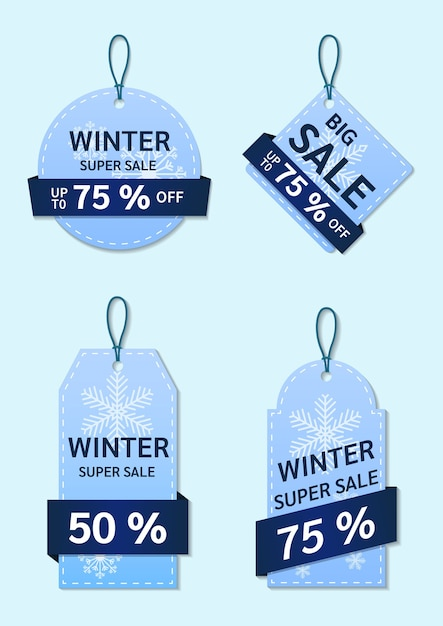 Zimowa Kolekcja Tagów Sprzedaży. Premium Wektorów