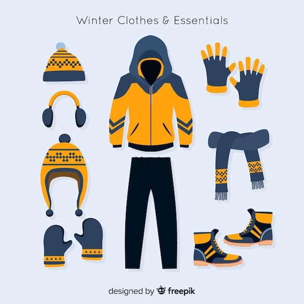 Zimowa Kolekcja Ubrań I Artykułów Pierwszej Potrzeby Darmowych Wektorów