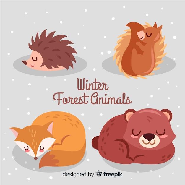 Zimowa kolekcja zwierząt leśnych Darmowych Wektorów