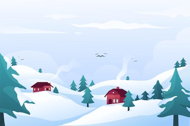 Zimowa Koncepcja W Płaskiej Konstrukcji Darmowych Wektorów